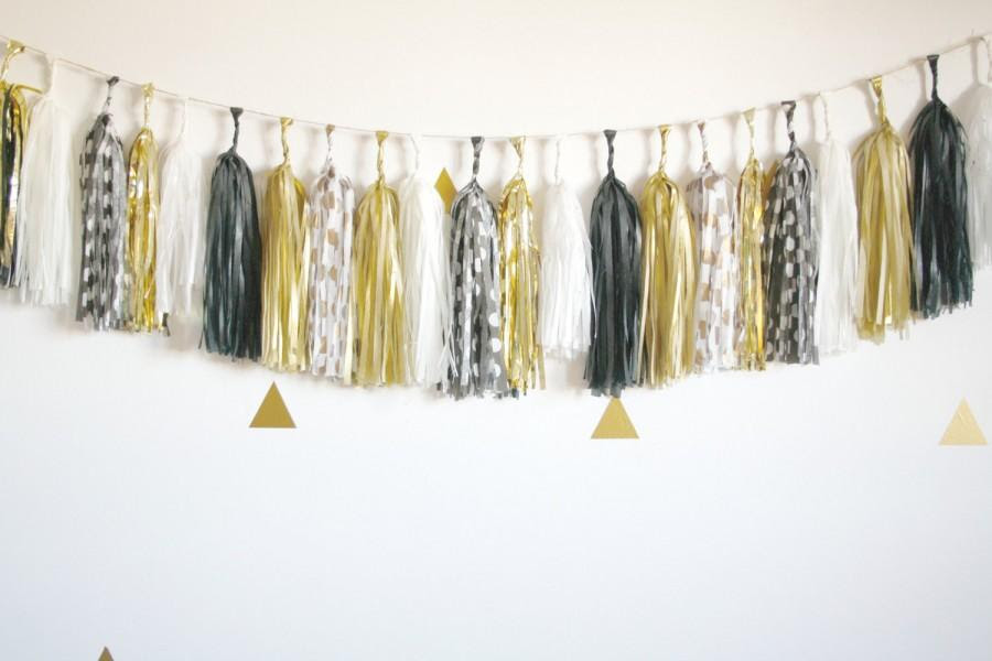 Black White And Gold Metallic Sparkle Tassel Garland New Years