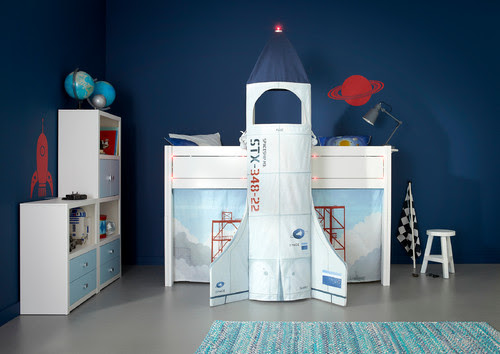 Outer Space themed children's bedroom, with space shuttle and astronaut suit.
