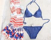 Crochet Bikini Sexy Blue Swimsuit, READY TO SHIP size M - creaspir
