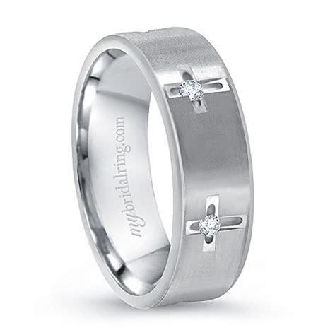 14k Multi Stone White Gold Cross Christian Wedding Ring