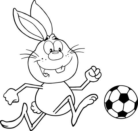 Disegno Di Coniglietto Che Gioca A Calcio Da Colorare Disegni Da