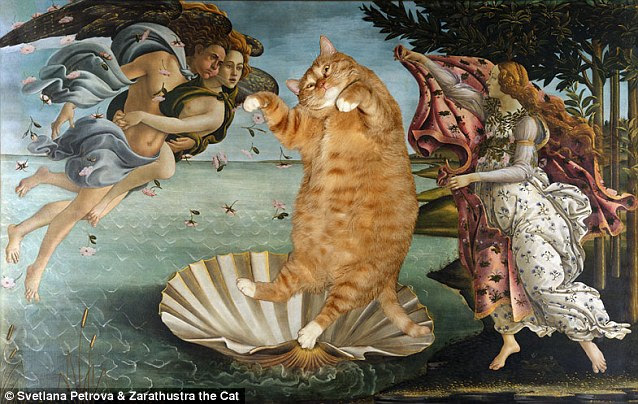 The Birth of Venus by Sandro Botticelli takes on a decidedly comic look when the classic voluptuous beauty is replaced by Zarathustra