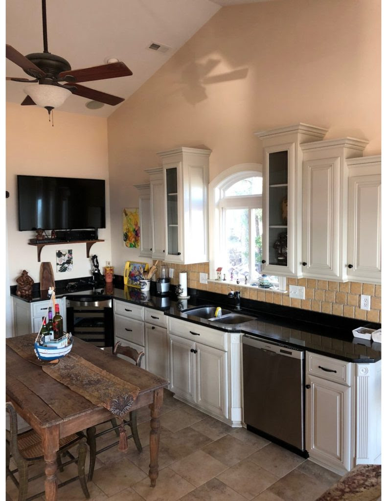 Refinished Kitchen Cabinets with Revere Pewter Color ...