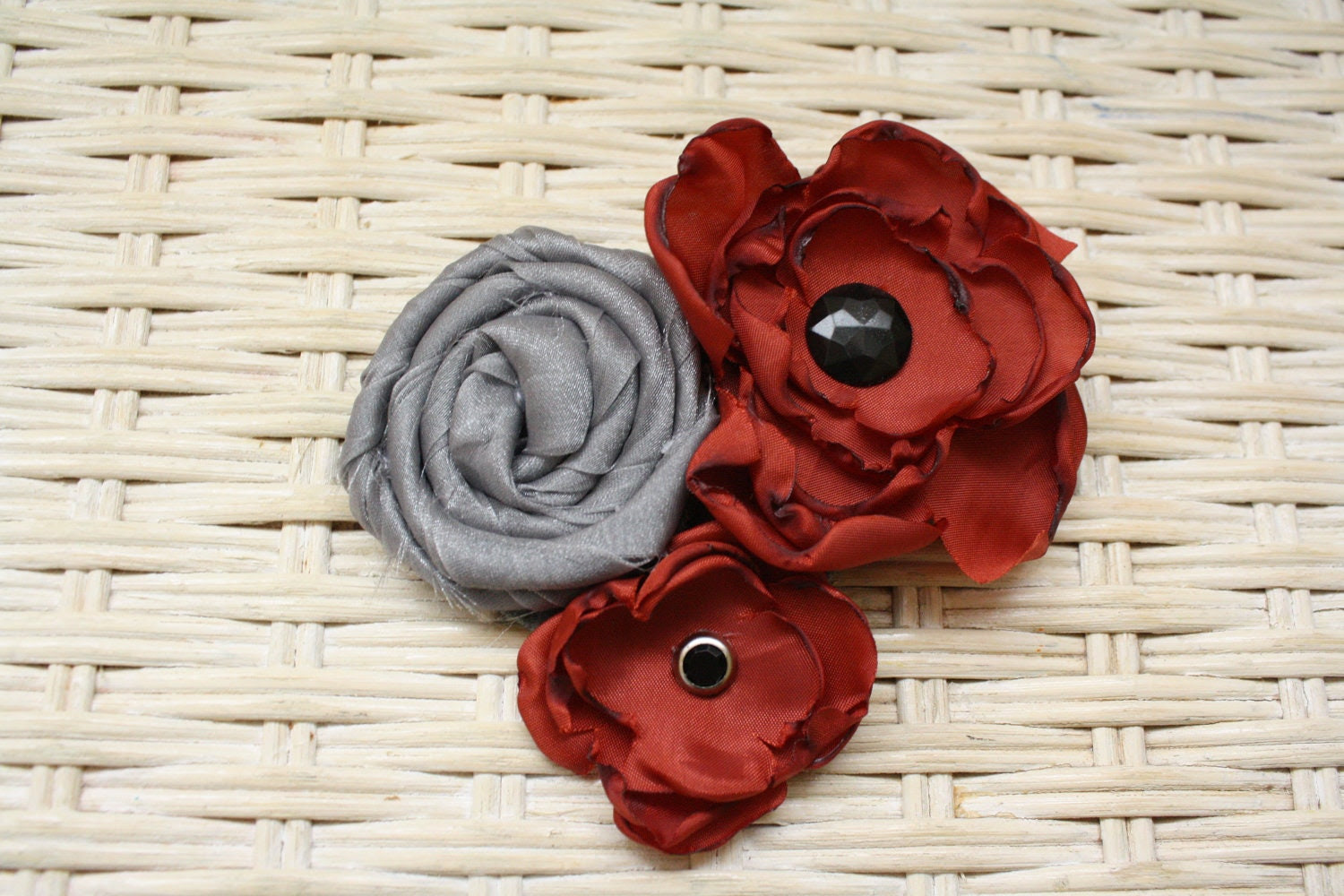 Silver and Burnt Orange Singed Fabric Flower Brooch Pin