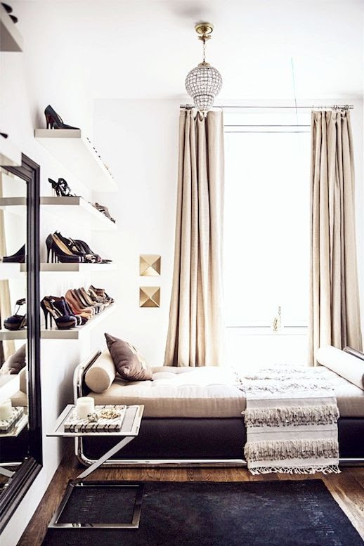 Le Fashion Blog A Fashionable Home Dream Closet Shoe Shelves Dressing Room Rita Hazan New York City Loft Nate Berkus Jeremiah Brent Interior Design Via Domino Floating Wall Shoe Storage Lounge Daybed Tiered Fringe Throw Blanket Navy Rug Side Table Marble Tray Moroccan Faceted Light Pendant Chandelier photo Le-Fashion-Blog-A-Fashionable-Home-Dream-Shoe-Shelves-Dressing-Room-Rita-Hazan-New-York-City-Loft-Nate-Berkus-Interior-Design-Via-Domino.jpg