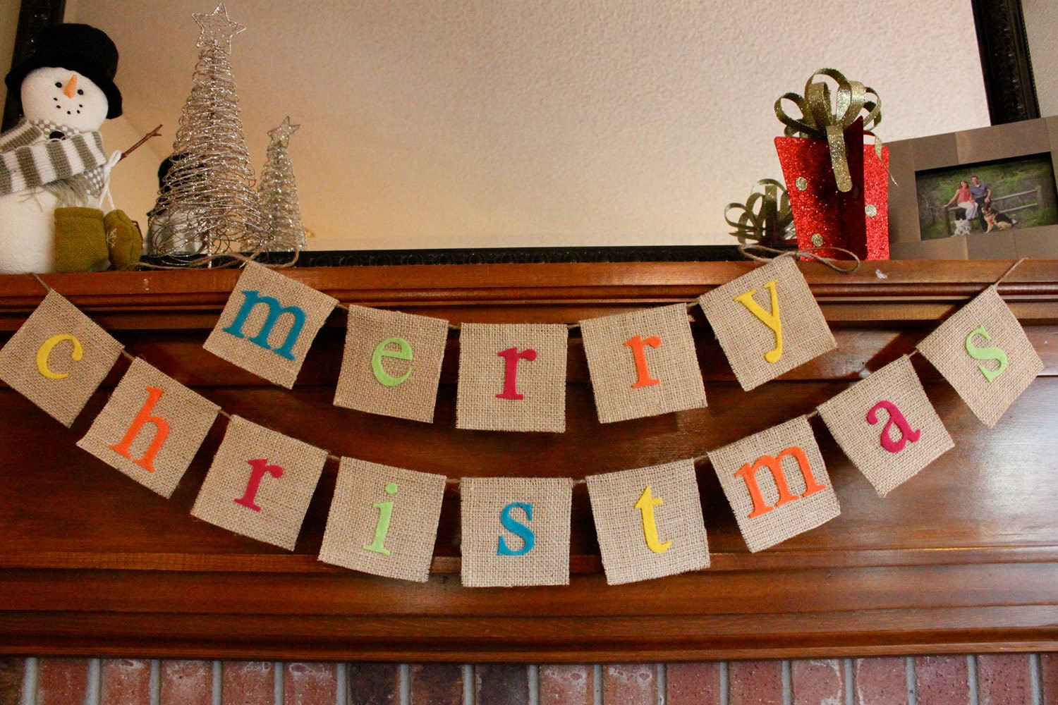 Merry Christmas Colorful Holiday Burlap Banner Bunting Garland