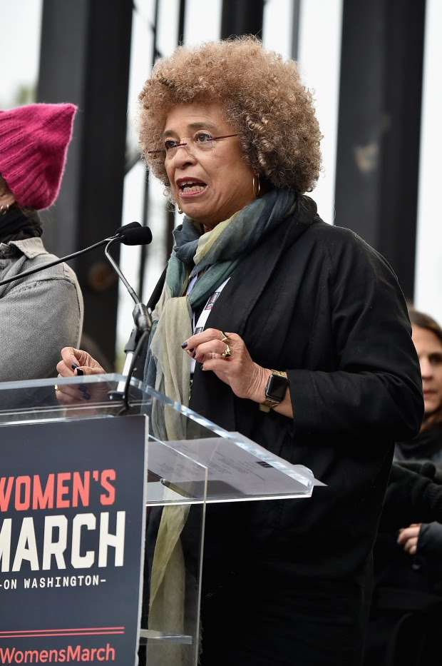 WASHINGTON, DC - JANUARY 21:  Angela Davis speaks onstage during the Women's March on Washington on January 21, 2017 in Washington, DC.  (Photo by Theo Wargo/Getty Images)