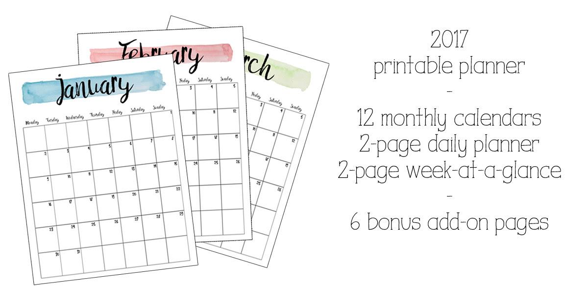 Printable Planner 2017 - Calendar June