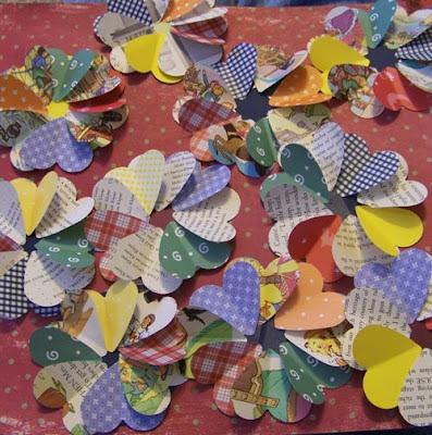flor de papel coração