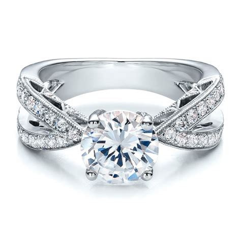Split Shank Diamond Engagement Ring   Vanna K #100110