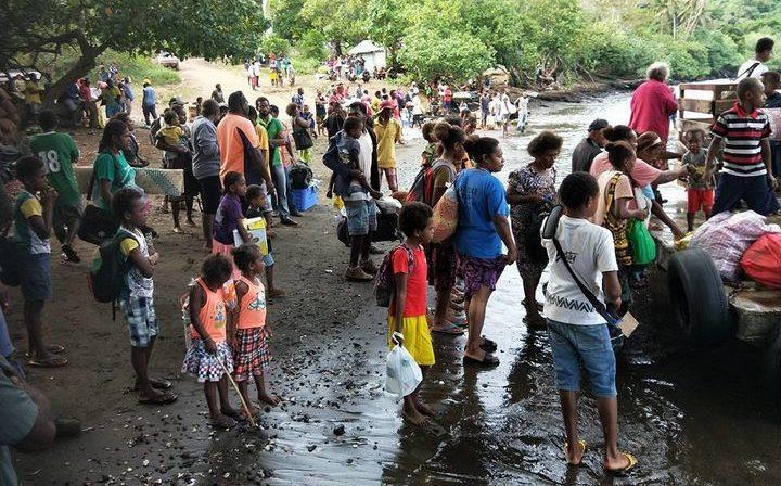 People being evacuated on Ambae.