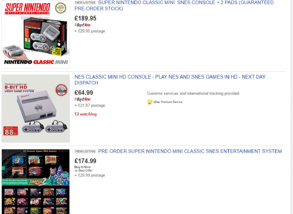 The SNES Mini sold out instantly in the UK, let the scalping begin screenshot