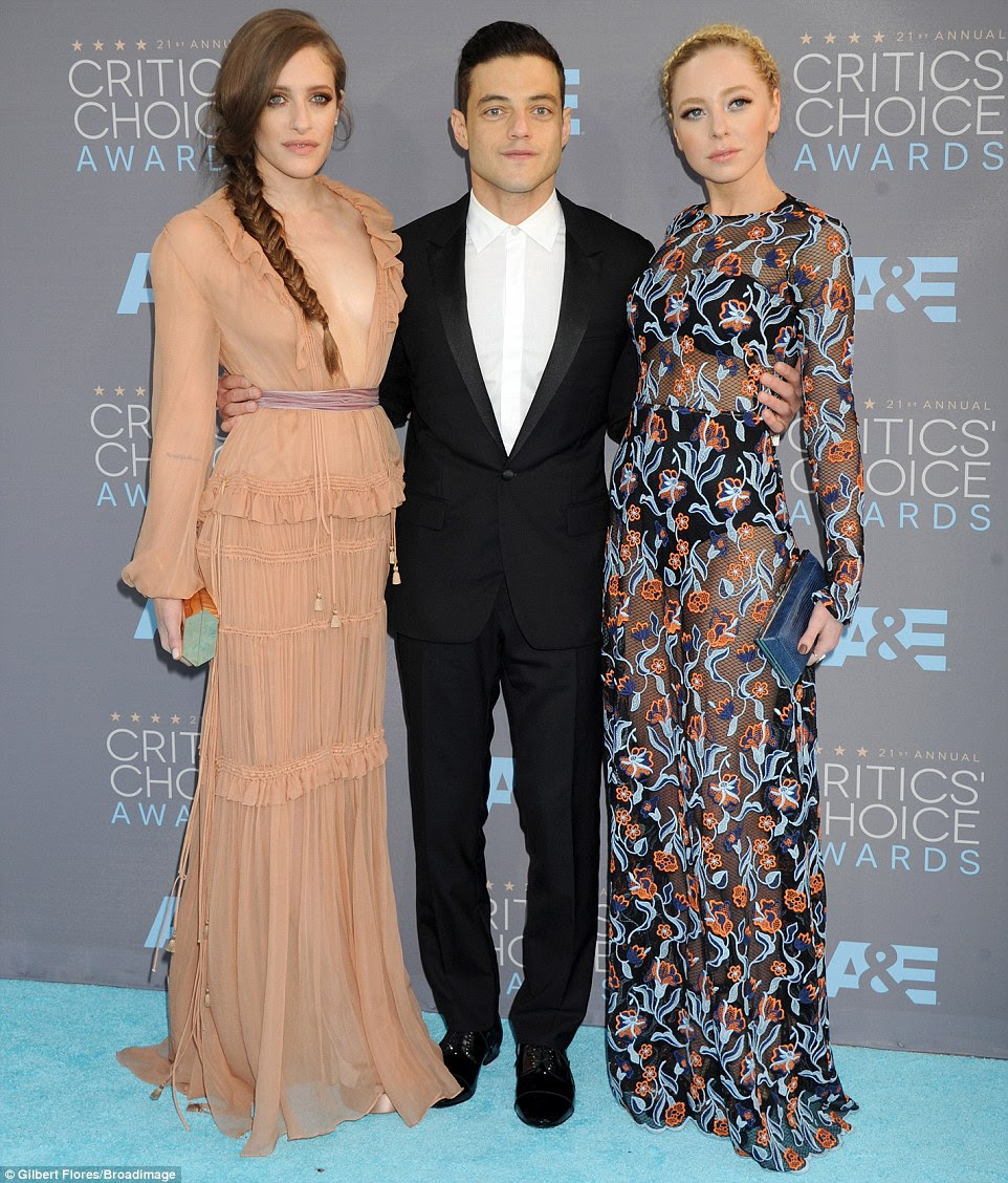 Flanked by his female co-stars: Rami was joined byCarly Chaikin (left, in Chloe) and Portia Doubleday (inNovis)