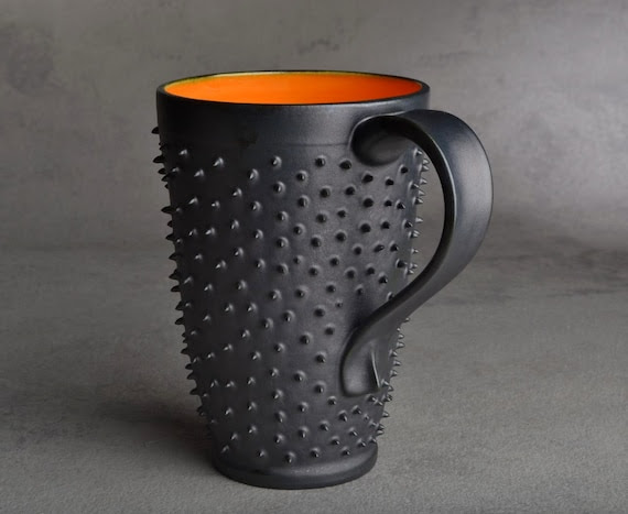 Spiky Mug: Made To Order One Black and Orange Dangerously Spiky Travel Mug by Symmetrical Pottery