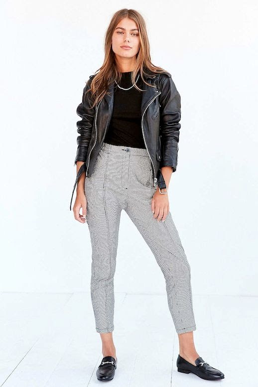 Le Fashion Blog Leather Moto Jacket Black Sweater Necklace Checkered Print BDG Pants Loafers Via UO