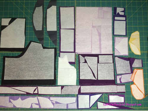 fuse scraps of purple, orange and gray