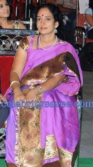 Krishnam Raju Wife in Purple Silk Saree(Traditional Saree