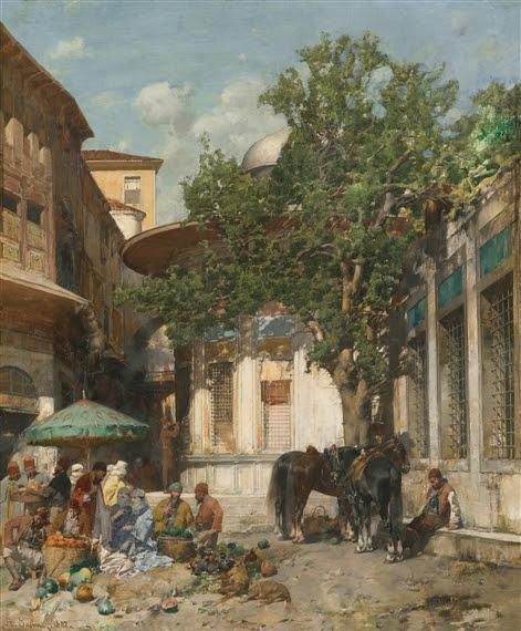 Alberto Pasini, BY THE FOUNTAIN, CONSTANTINOPLE