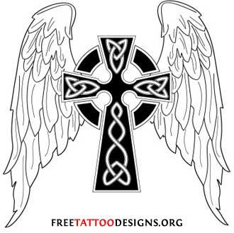 Winged Celtic Cross Tattoo Design