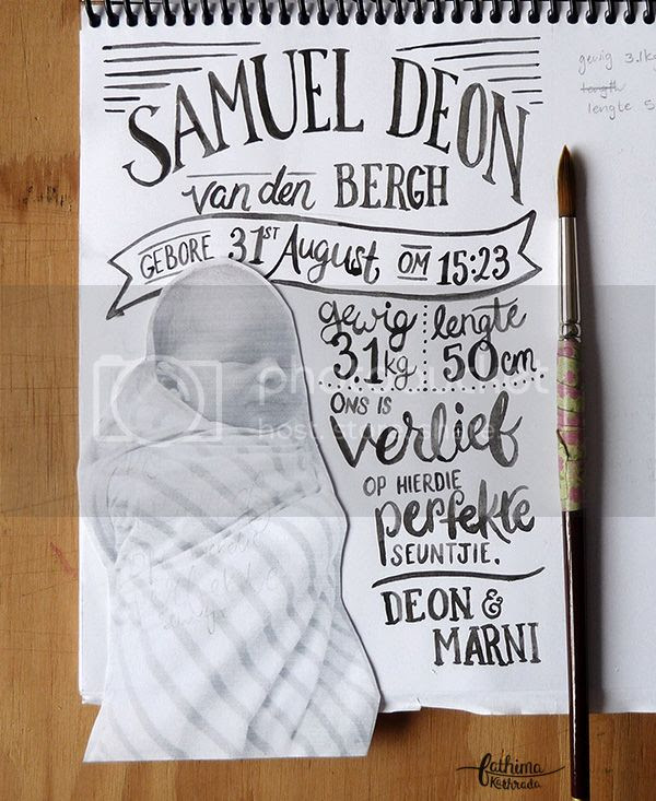 A Hand Lettered Birth Announcement by fathima kathrada