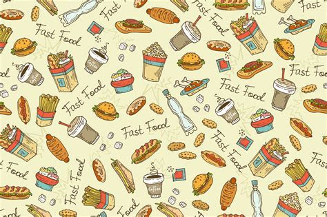 Pattern with hand drawn fast food ~ Patterns on Creative