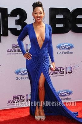 meagan good sexy royal blue prom dress bet awards  red
