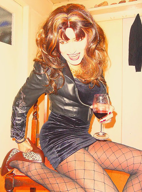red wine and smiling
