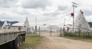 Almacenes de maíz importado, Chiapas, México. (Foto: Jerónimo Palomares)
