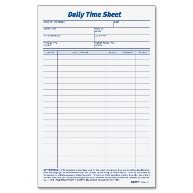 TOPS Daily Time Sheet Form 30041 TOP30041
