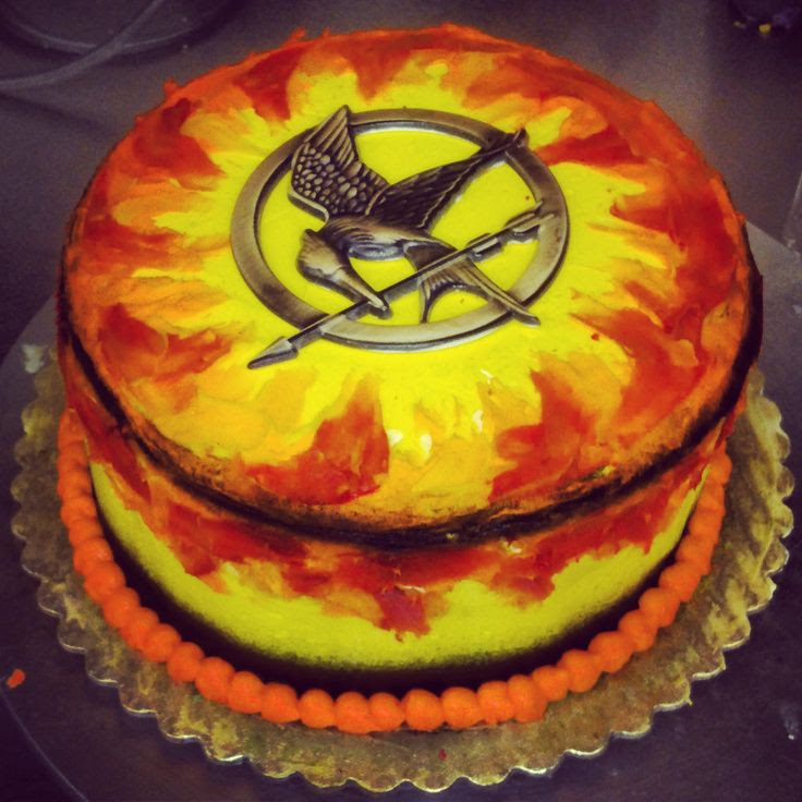 Cool flaming Hunger Games cake