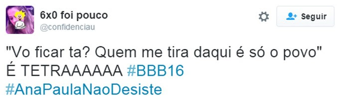 Twitter Ana Paula tetra (Foto: Gshow)