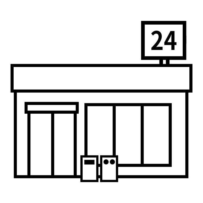 コンビニ白黒建物4乗り物建物無料イラスト素材