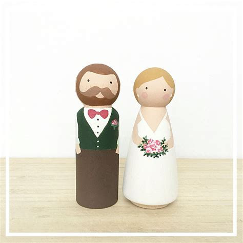 Hand painted Custom Bride and Groom Wooden Peg Doll Cake