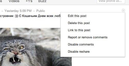 управление постами в Google+