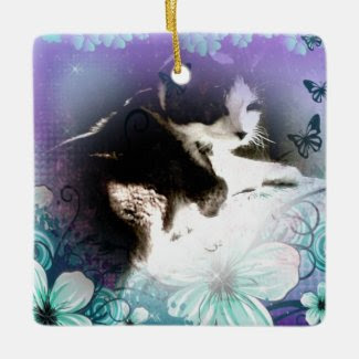 snowshoe kitty hiding in the flowers square ornament