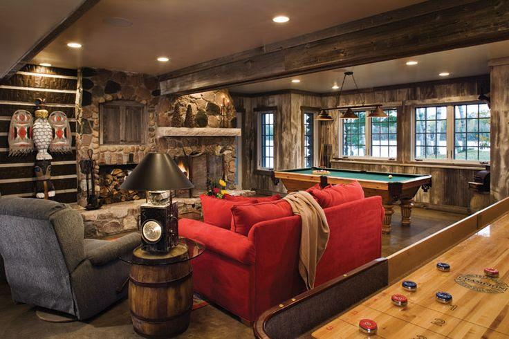 rustic walkout basements   ... Homes » ...   Rustic Lake House Game R…