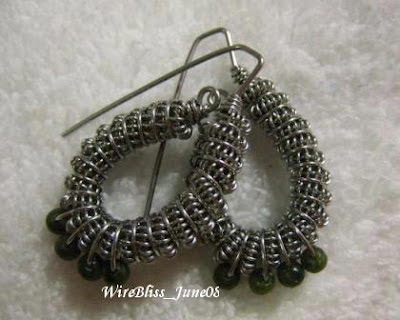 Coiled and Wire Heart Earrings