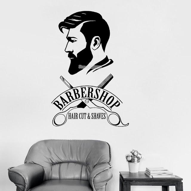 Beste Kopen Barbershop Logo Muurtattoo Muurschildering Kapper Teken Sticker Window Decor Decals Muurschilderingen Kapsalon Wallpapers LC477 Goedkoop