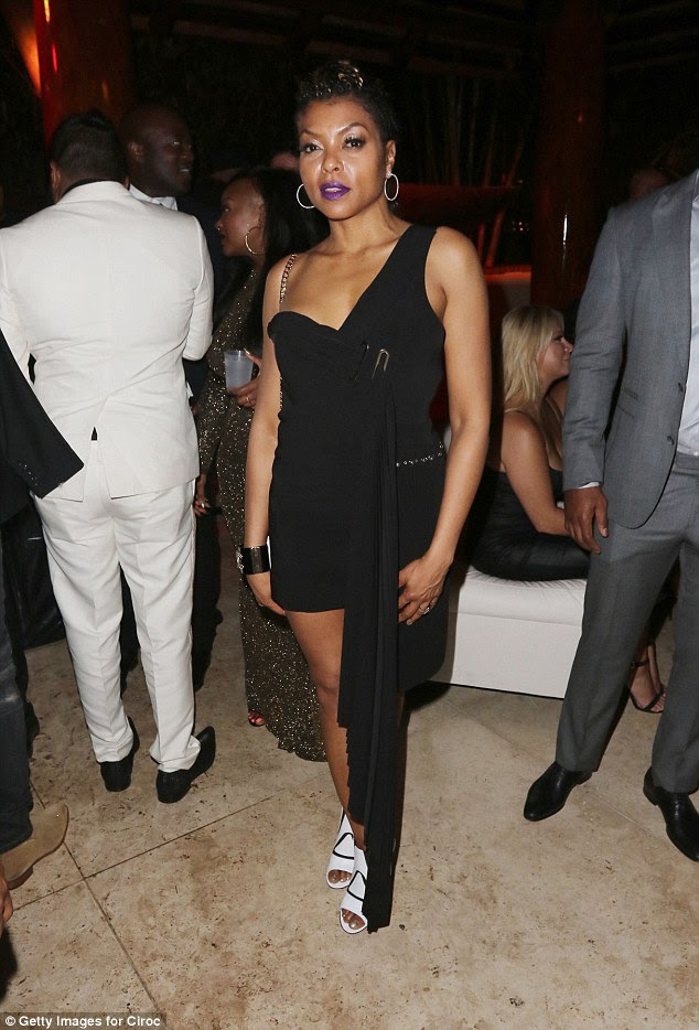 Striking:Joining Rita at the superstar-studded party was Empire star Taraji P Henson who looked sensational in a skimpy black gown with an asymmetric hem