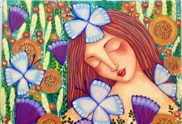 ilustracion flores mujer