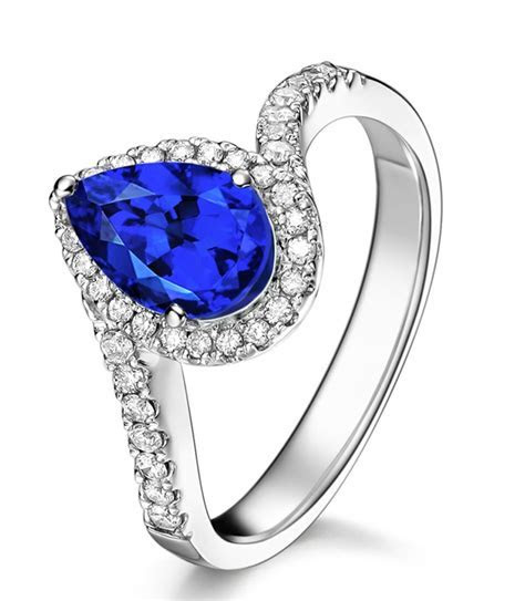 1.50 Carat pear cut Sapphire and Diamond curved Engagement