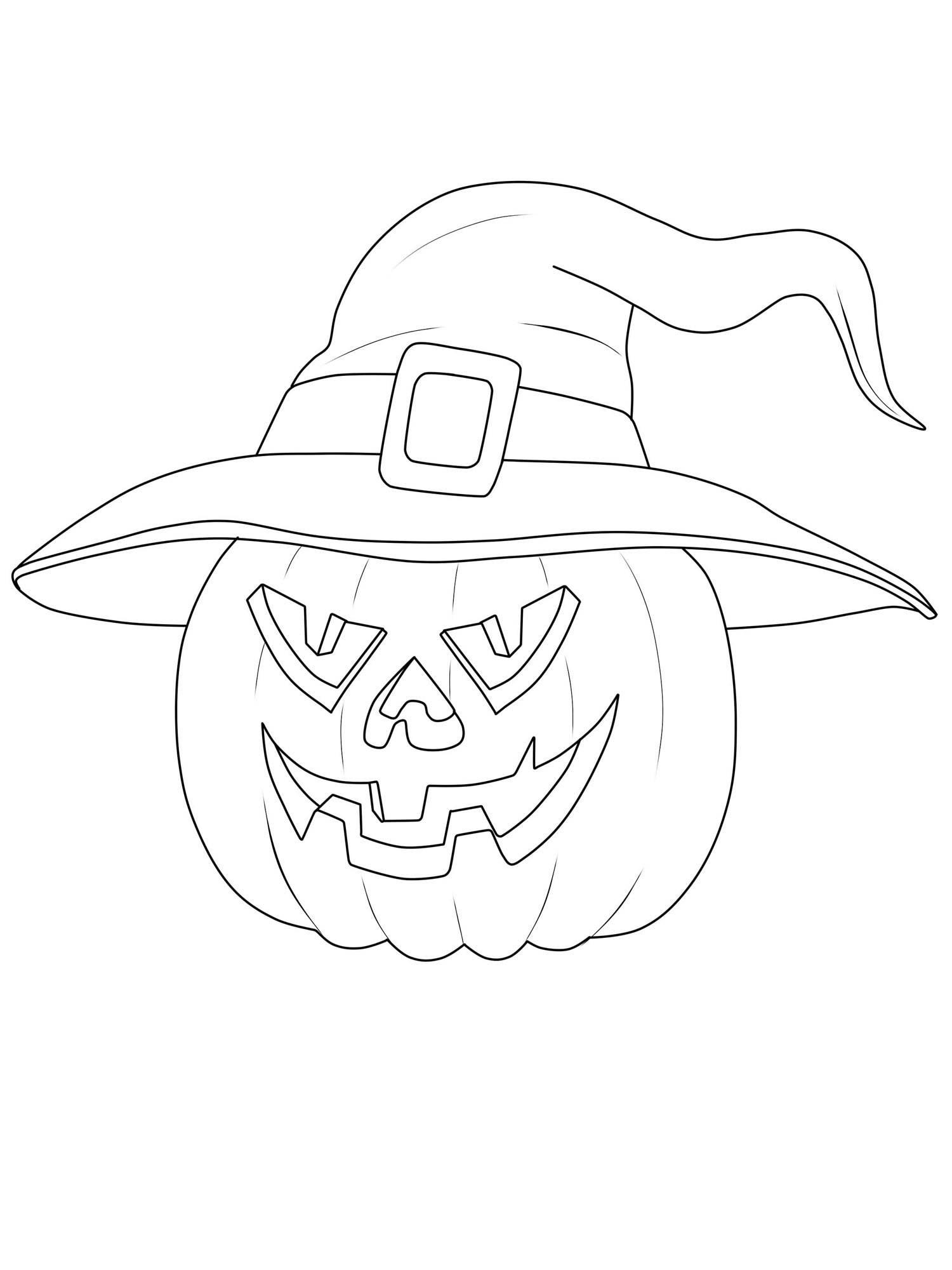 ausmalbild halloween kuerbis hexenhut