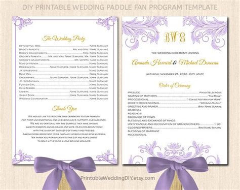 fan wedding program template printable fan program instant