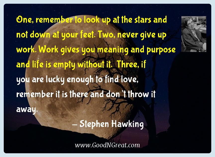 Stephen Hawking Inspirational Quotes One Remember To Look Up At The