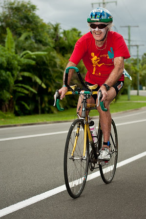 Markos Hanley, 79 of Noosaville competing in his 18th Mooloolaba Triathlon - 2012 Mooloolaba Triathlon; Mooloolaba, Sunshine Coast, Queensland, Australia; 25 March 2012. Photos by Des Thureson - disci.smugmug.com.