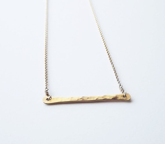 Gold Filled Hammered Bar Necklace - Everyday Necklace - Gold Filled Bar Necklace - Gold Necklace