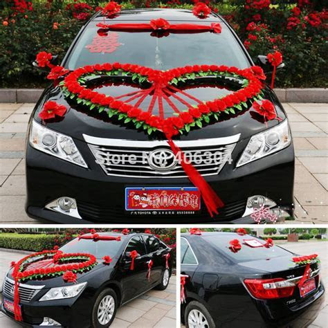 Artificial flowers wedding car flower decoration set, red