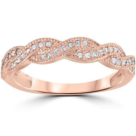 1/8ct Pave Diamond Wedding Ring 14K Rose Gold   eBay