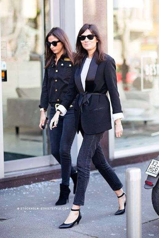 Le Fashion Blog 11 Ways To Wear Kitten Heels Emmanuelle Alt Street Style Ray Ban Wayfarer Sunglasses Belted Tux Jacket White Tee Faded Black Cropped Denim Via Stockholm Streetstyle photo Le-Fashion-Blog-11-Ways-To-Wear-Kitten-Heels-Emmanuelle-Alt-Street-Style-Belted-Tux-Jacket-Via-Stockholm-Streetstyle-5.jpeg