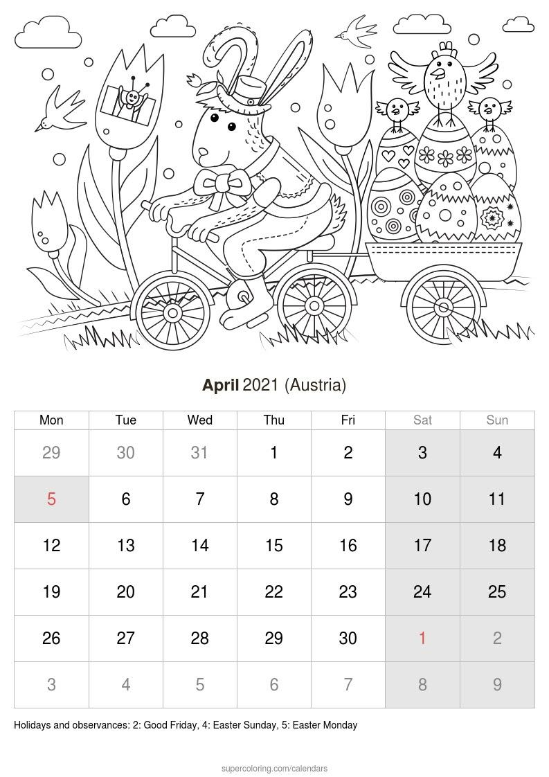 April 2021 Calendar Austria
